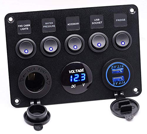 Cllena Dual USB Socket Charger 2.1A&2.1A + LED Voltmeter + 12V Power Outlet + 5 Gang ON-Off Toggle Switch Multi-Functions Panel for Car Marine Boat RV Truck Camper Vehicles (Blue)
