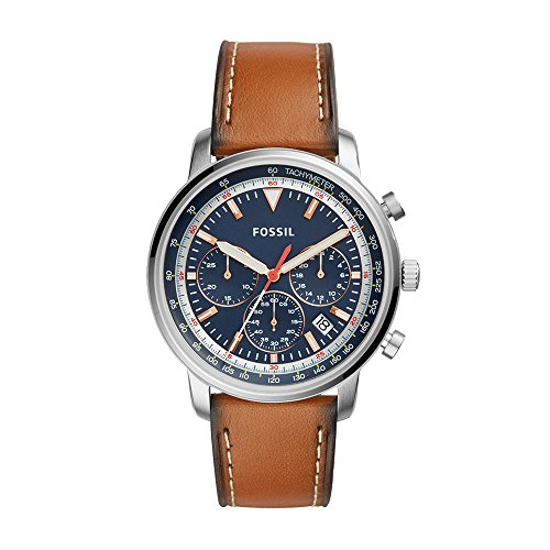 - Fossil Men's Goodwin Stainless Steel Quartz Watch with Leather Calfskin Strap, Brown, 21.4 (Model: FS5414)