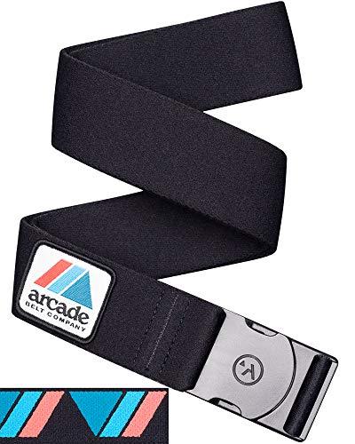 (Arcade Belt Mens Adventure Rambler Belts: Heavy Duty Elastic Webbing, Non-Metal Travel Friendly Buckle, Black/Logo )