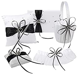 Youzpin 5Pcs Romantic Wedding Ceremony Party Favor Sets,Wedding Guest Book + Pen Stand + Flower Basket + Ring Pillow + Garter Double Heart Rhinestone Decor Ribbon Bow Elegant Wedding Party Decoration.