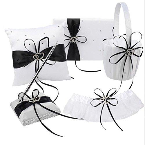 Youzpin 5Pcs Romantic Wedding Ceremony Party Favor Sets,Wedding Guest Book + Pen Stand + Flower Basket + Ring Pillow + Garter Double Heart Rhinestone Decor Ribbon Bow Elegant Wedding Party Decoration.