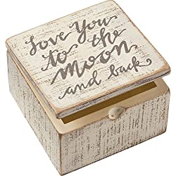 Primitives by Kathy Distressed Hand-Lettered Hinged Box, 4 x 4 x 2.75-Inches