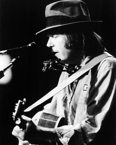 Neil Young 8x10 Promotional Photograph playing guitar in concert
