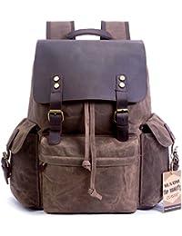 "Vintage Canvas Leather Laptop Backpack for Men School Bag 15.6"" Waterproof Travel Rucksack"
