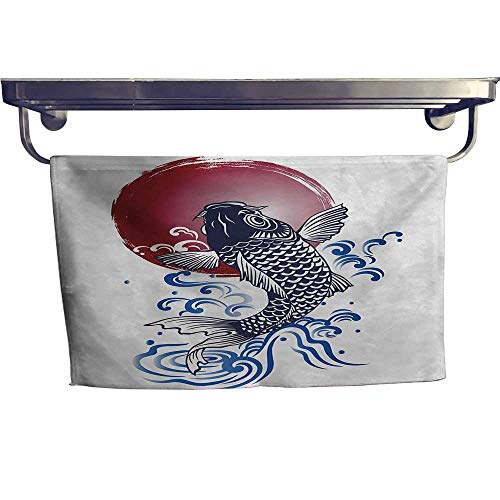 sunsunshine Japanese Sports Towel Set Ornate Japanese Brocaded Carp Fin with Red Circular Form Eastern Sea Colored Graphic Handkerchief Set W 20