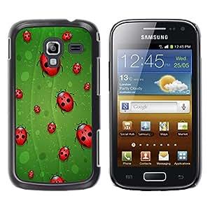 TECHCASE**Cubierta de la caja de protección la piel dura para el ** Samsung Galaxy Ace 2 I8160 Ace II X S7560M ** Ladybug Leaf Green Red Art Nature Eco Spring Bug