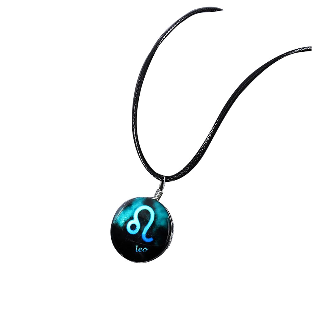 Wintefei Jewelry Horoscope Constellation Sign Cabochon Glass Pendant Rope Necklace - Leo