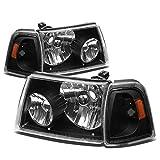 Ford Ranger 4pcs Replacement Headlight+Corner Lights Kit (Black Housing Amber Reflector)