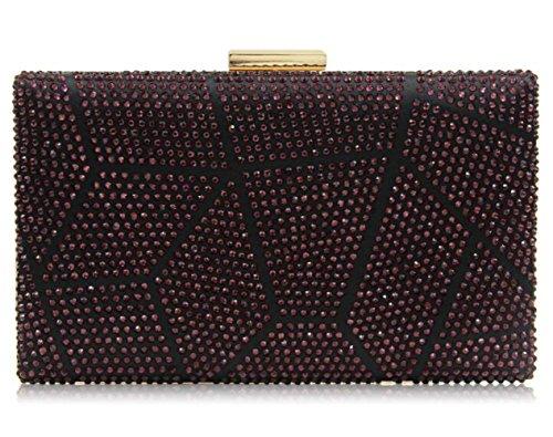 Clutch Crystal Purses Handbag Clutch Purple Cocktail Rhinestone Multicolored for Women Evening GSHGA wq48xYtt