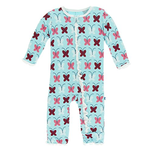 Kickee Pants Little Girls Print Muffin Ruffle Coverall With Zipper - Tallulah's Butterfly, 9-12 Months - Kickee Pants Coveralls