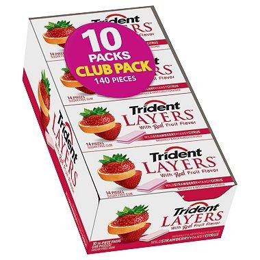 Trident Layers Strawberry + Citrus Sugar Free Gum - 14 ct. - 10 pk. (pack of 2) by Trident