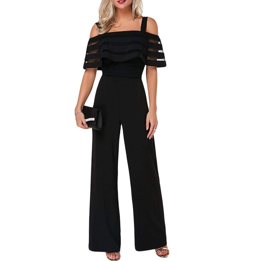 YYW Womens Summer Casual Off Shoulder Short Sleeve Loose Jumpsuit Rompers with Pockets