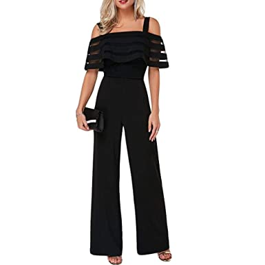 caa8669e2ce506 Comeon Women\'s Jumpsuits Wide Leg Off Shoulder Strap Elegant High Waist  Rompers Party