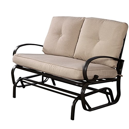 Giantex Outdoor Patio Rocking Bench Glider Loveseat Cushioned 2 Seats Steel Frame Furniture ()