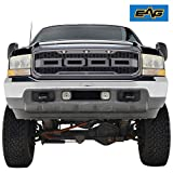 EAG Raptor Conversion Replacement Grille - Charcoal Gray - With Amber LED Lights for 1999-2004 Ford F-250 F-350 Super Duty