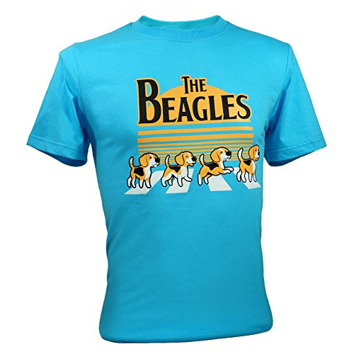 - Immortal Tee Adult Unisex The Beatles Beagles Funny T-Shirts Blue Large
