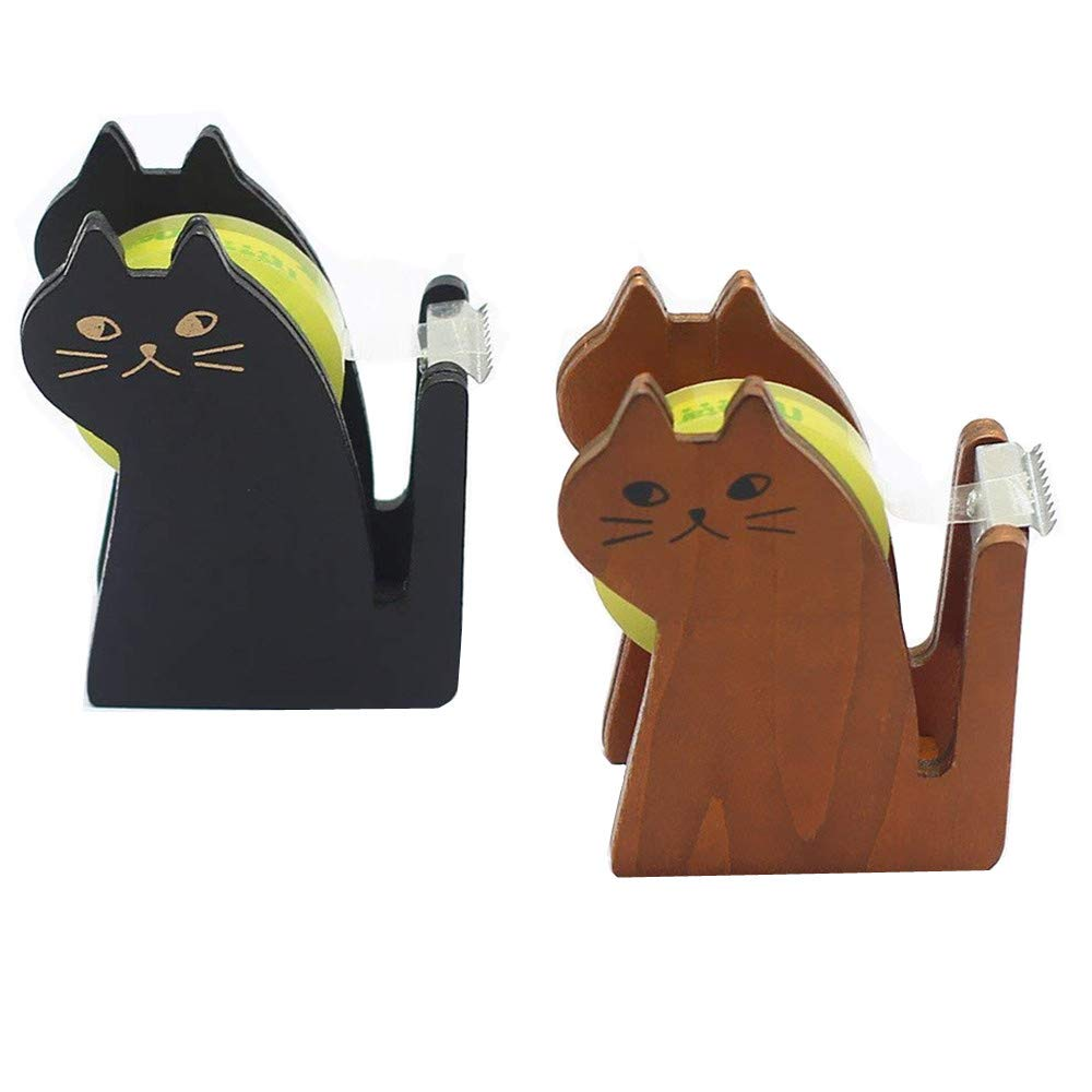 TANG SONG 2Pack Cute Wooden Cat Kitty Shape Desktop Tape Dispenser Tape Cutter (Black & Brown)