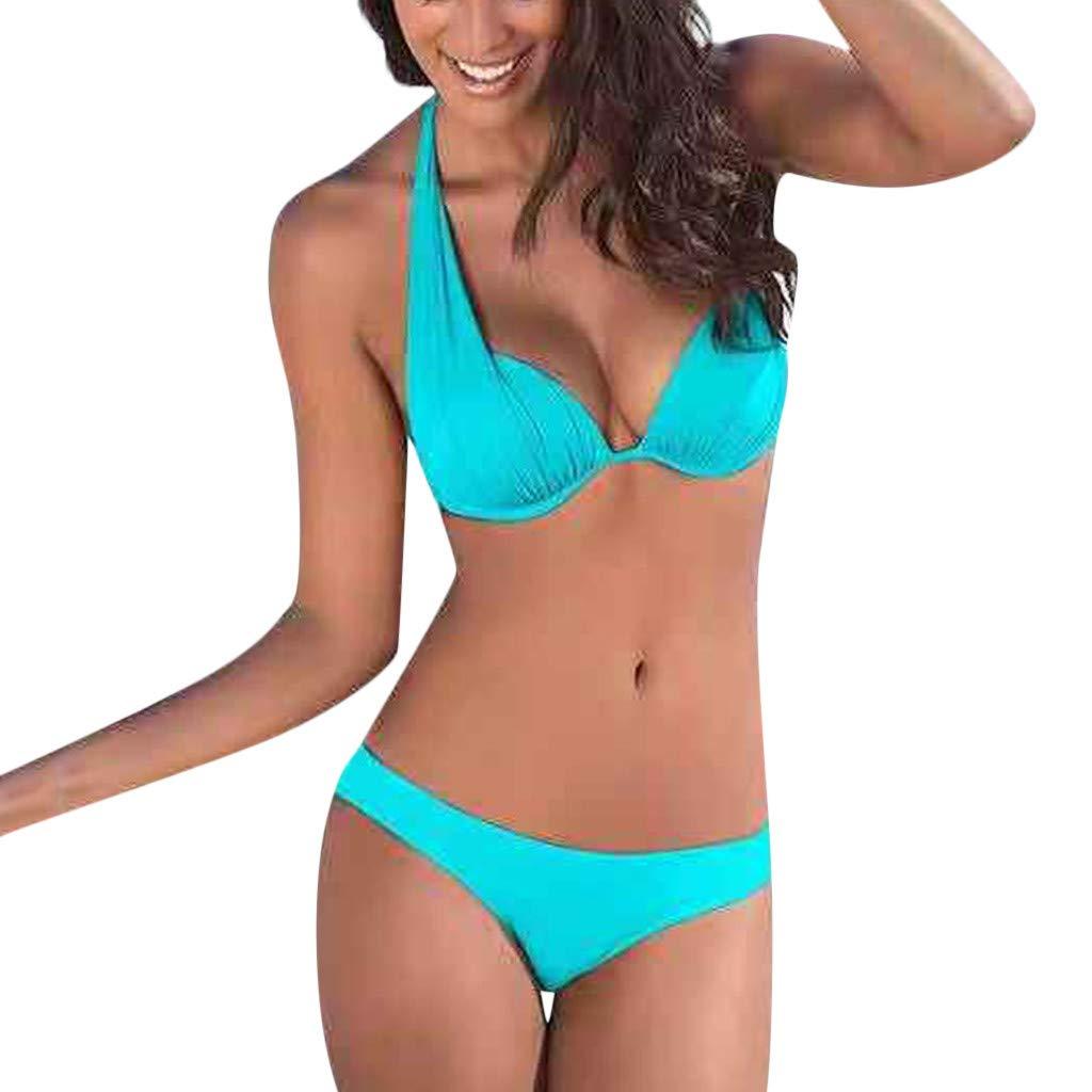 OIKAY bademode Frauen badeanzüge Damen Neckholder Bikini Set Sexy Halter Push up Zweiteiliger Bikinis Einfarbig Badeanzug Bademode