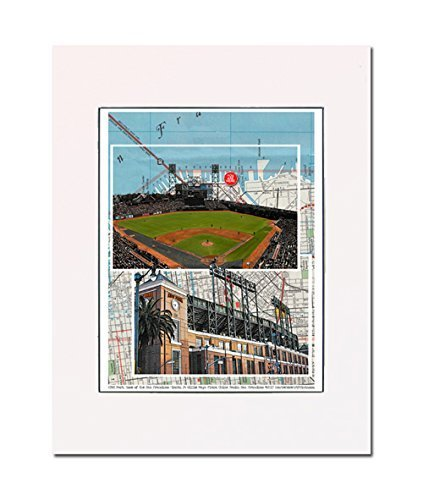 Baseball, San Francisco Stadium, Home of the Giants, China Basin, California, art print. Gallery quality. Matted at 11 inch x 14 inch and ready-to-frame