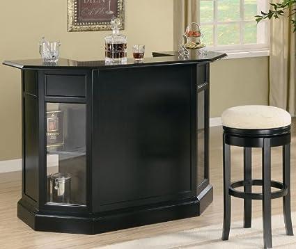 Amazon.com: 3pc Bar Unit and Bar Stools Set in Black Finish: Kitchen ...