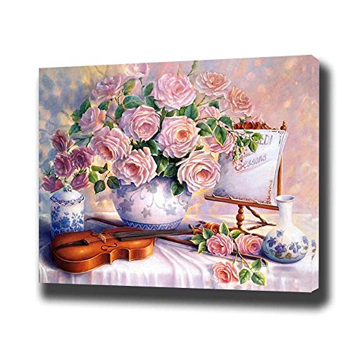 DIY Paint by Numbers Kit 16x20 inches Pink Rose Flowers with Violin Oil Painting for Adults and Kids (Without Frame)