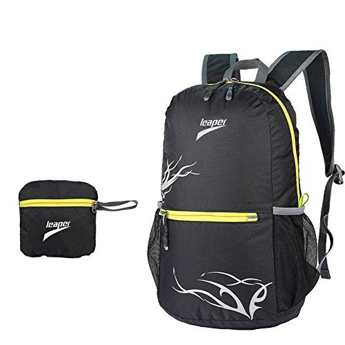 Leaper Outdoor Nylon Ultra-light 20L Folding Backpack Travel Daypack for Hiking Camping Climbing (Black)