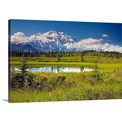 Solid-Faced Canvas Print Wall Art Print Entitled Mt.McKinley and The Alaska Range with Kettle Pond in Foreground, Denali National Park 48