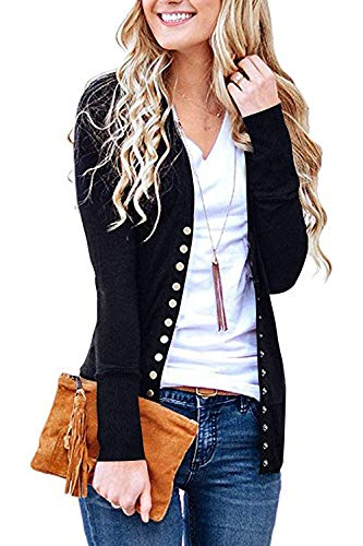 Women's S-3XL Solid Button Front Knitwears Long Sleeve Casual Cardigans Black S ()