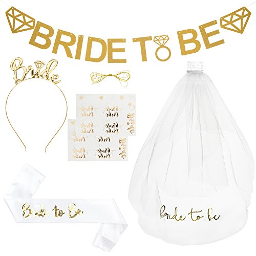 Bride To Be Kit Bachelorette Party Decorations   White Bridal Shower Supplies   Favors   1 Double Satin Sash 1 Veil  Comb 1 Gold Metal Tiara 1 Bride To Be Banner   2 Sheet Tattoos Accessories