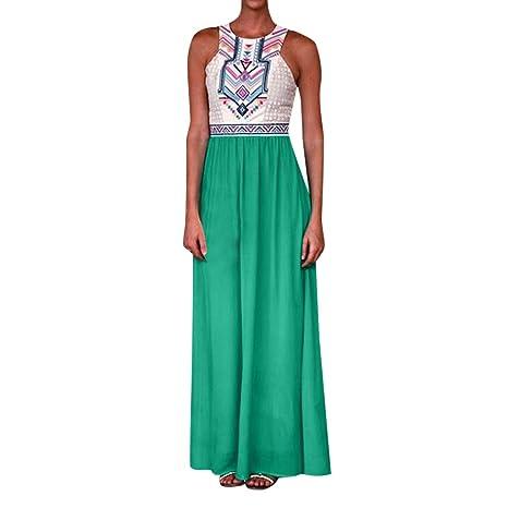 IZZB Mode Damen Sommer Partykleid Strand mit hoher Taille ärmellos Dot Maxi Urlaub lang Freizeitkleid Abendkleid Cocktailklei