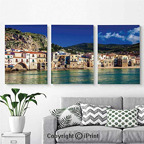 3PCS Triple Decoration Painting Wall Mural Cozy Old Houses in The Port of Cefalu Sicily Mediterranean Seaside Mountain Seascape Living Room Dining Room Studying Aisle Painting,16