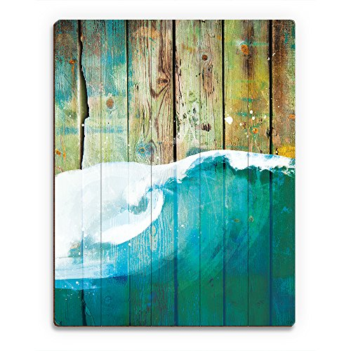 Rustic Wave Main: Nautical Painting of Curling Sea Ocean Wave on Distressed Wood Plank
