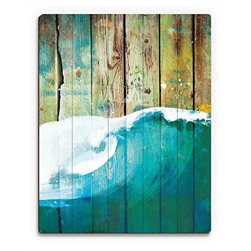 Rustic Wave Main: Nautical Painting of Curling Sea Ocean Wave on Distressed Wood