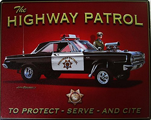 Highway Patrol Hot Rod To Protect Service and Cite Police Metal Sign ()