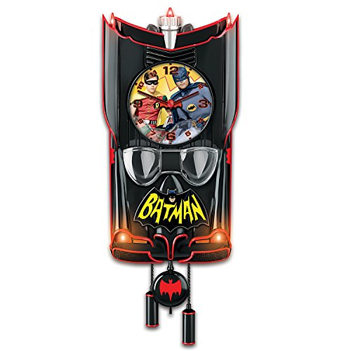 Heads Up Cuckoo Clock - Batman Classic TV Series BATMOBILE Wall Clock Lights Up and Plays Music by The Bradford Exchange