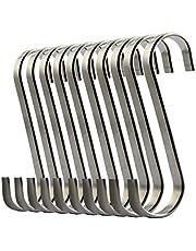 wotu 10 Pcs S Hanging Hooks, Stainless Steel S Hooks Heavy-Duty S Shape Hangers for Home