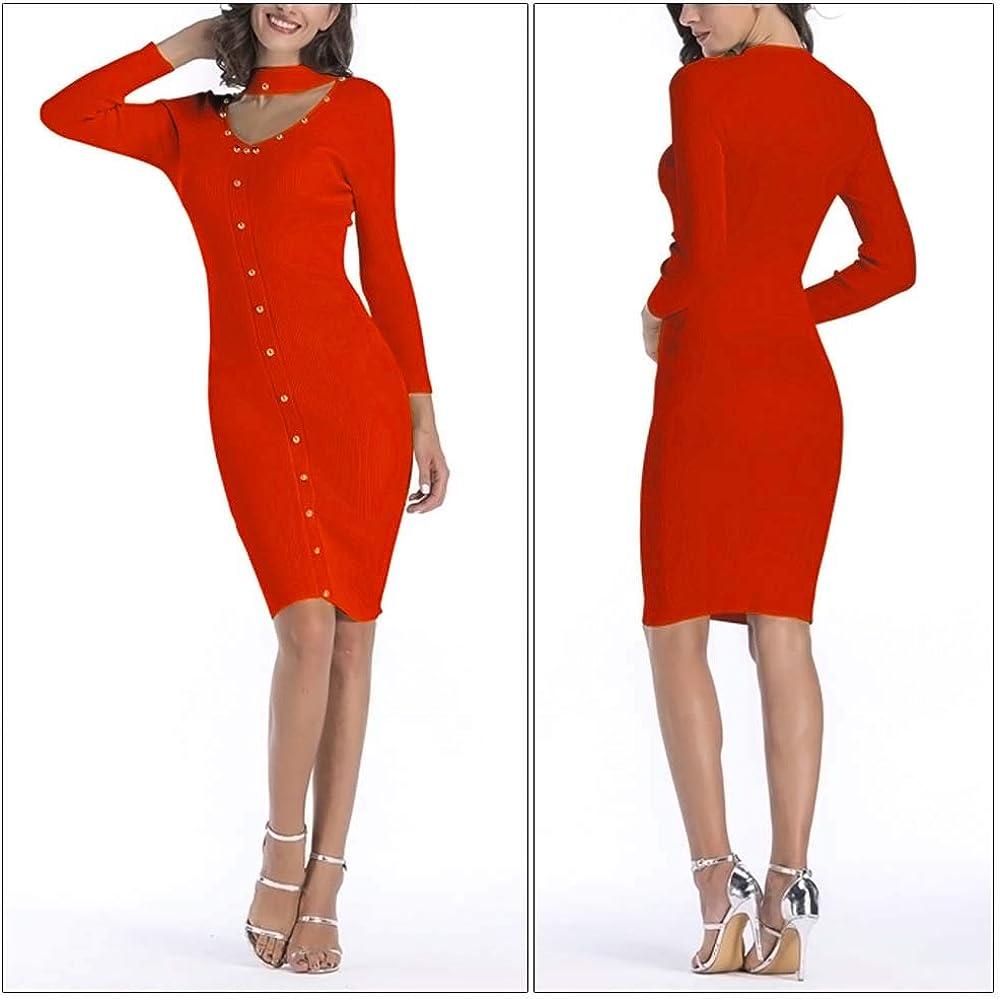 FEOYA Women Bodycon Dress Pencil Dress Long Sleeve Knitted Dress Elastic Crewneck