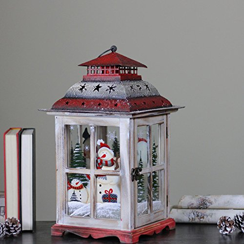 Northlight Snowman and Christmas Pillar Candle Lantern, 17.5'', White by Northlight (Image #4)
