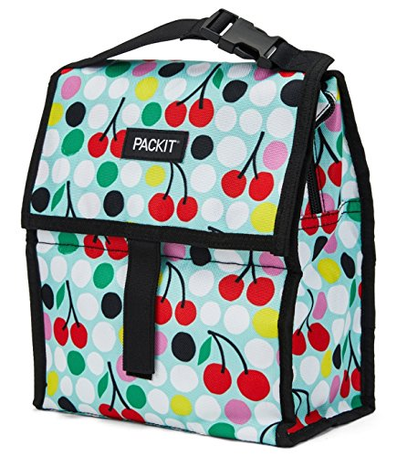 PackIt Freezable Lunch Bag with Zip Closure, Cherry Dots