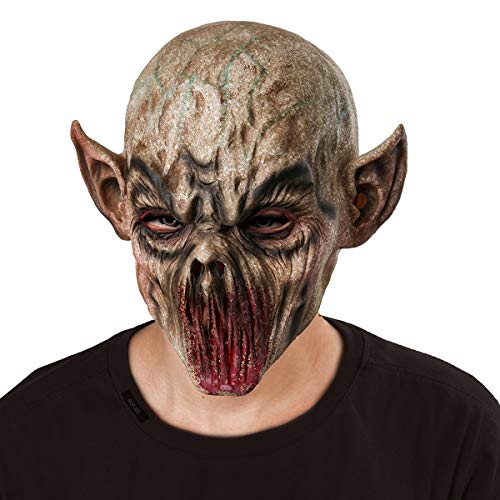 Scary Bloody Alien Demon Evil Zombie Monster Costume Latex Head Mask Creepy Horrific Halloween Cosplay Masquerade Party Props]()