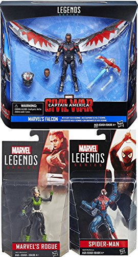 "Marvel Legends Spider-Man Classic Suit + Redwing Drone & Falcon Flight Tech 3-Pack Figure Set 3.75"" Inch & Rogue with superhuman abilities Super Hero Set"