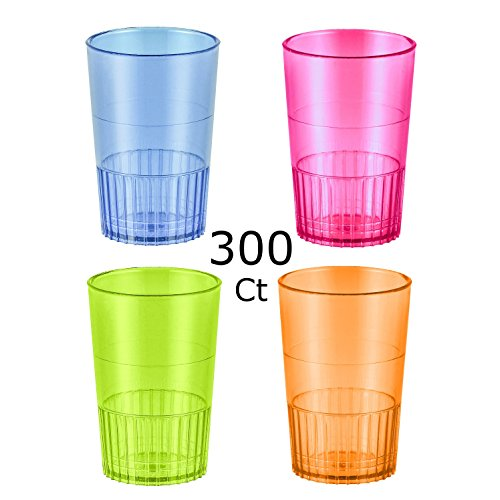 Zappy 300 1.5 oz Straight Wall Shooter Hard Disposable Plastic Shot Glasses Party Bar Glasses Wedding Cups Wine Glass Cocktail Champagne Martini Neon Party Cups Colored Drinking Glasses Shooter Glass