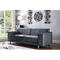 Iconic Home Amarillo Elegant Velvet Modern Contemporary Plush Cushion Seat Chrome Legs Sofa, Grey