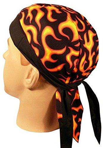 Skull Cap Biker Caps Headwraps Doo Rags - Liquid Flames on Black