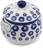 Polish Pottery 23 oz Bouillon Cup with Lid made by Ceramika Artystyczna (Wreath Of Blue Theme) + Certificate of Authenticity
