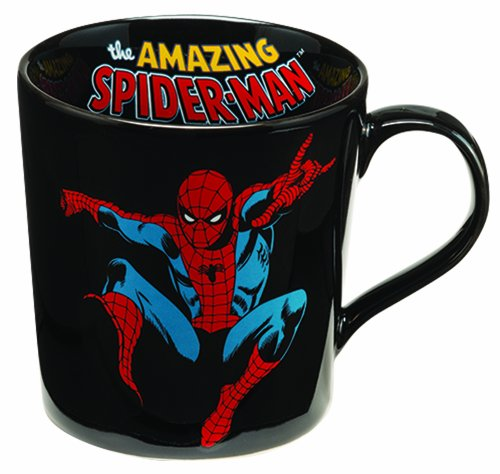 Vandor 26462 Marvel Spider-man 12 oz Ceramic Mug, Black, Red, and Blue