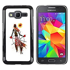 LECELL--Funda protectora / Cubierta / Piel For Samsung Galaxy Core Prime SM-G360 -- African Tribal Man Art Scarf Pattern Sun --