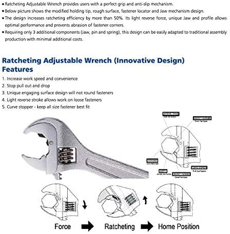 patented design heat treated award winning heavy duty industrial strength Life Time Warranty,Exceeds 130/% ANSI Forged Non-Slip professional Exclusive Tools adjustable ratchet ratcheting wrench