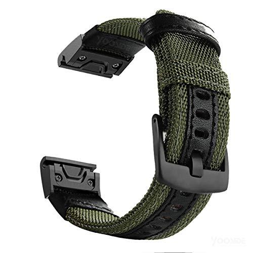 "Fenix 5/Fenix 5 Plus Watch Band,YOOSIDE 22mm NOTA Nylon Durable Sweatproof Watch Band Strap for Garmin Fenix 5 /Fenix 5 Plus/Approach S60/Quatix 5/Forerunner 935,Fit Wrist 6.3""-7.67""(S-Green)"