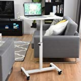 Apontus Adjustable Height Rolling Mobile Laptop Cart Stand Desk